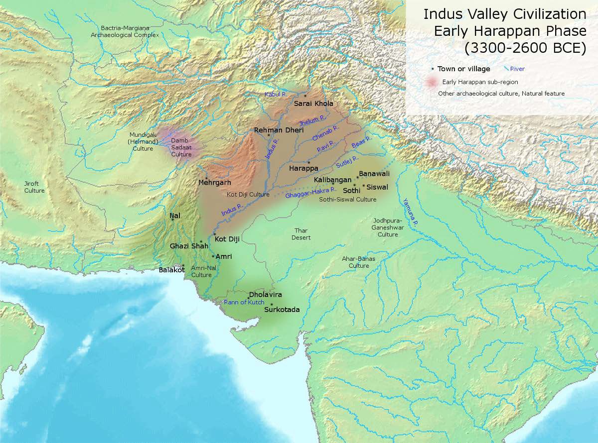 Map of Archaeological sites dating to northwest India's Neolithic period and the Indus Valley Civilization