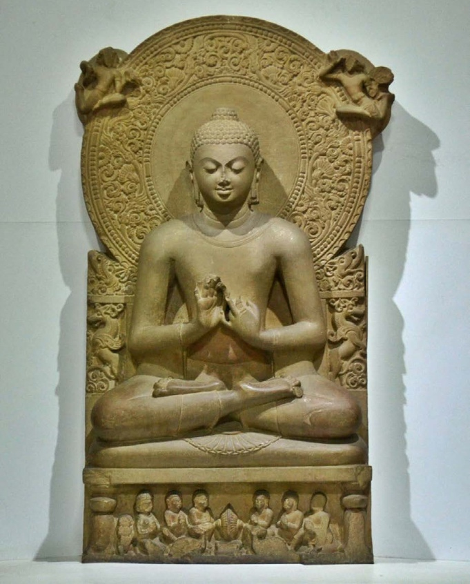 Gupta Period Buddhist sculpture (fifth century) showing the seated Buddha giving a sermon