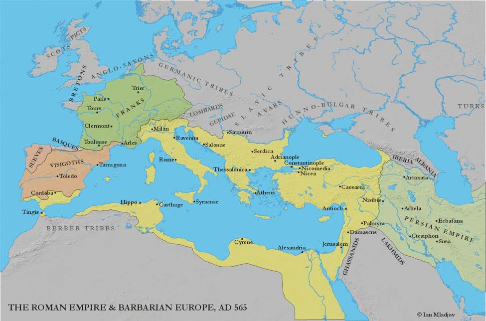 Map of The Roman Empire and Barbarian Europe 565 CE