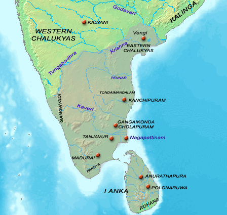 Map of The Chola Kingdom during the reign of Rajaraja I (r. 985-1012)