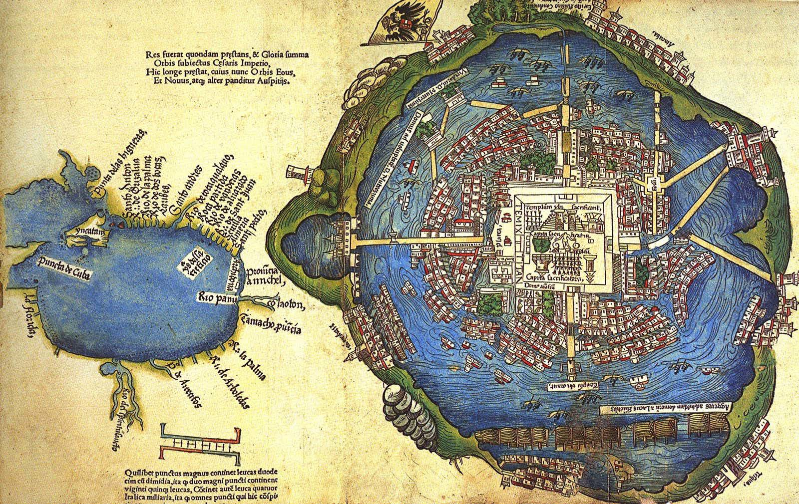 Map of Tenochtitlán and Gulf of Mexico