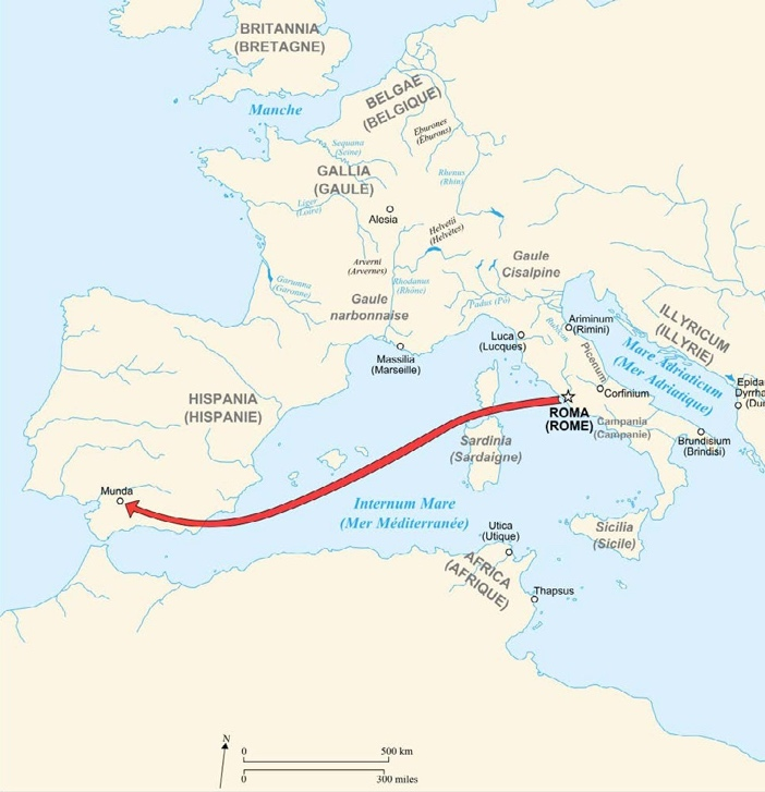 Map of Caesar's Campaigns in Gaul
