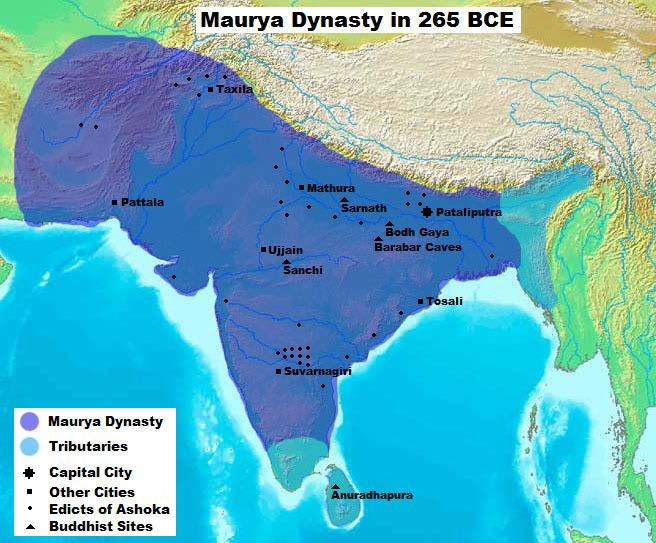 Map of Mauryan Empire during the reign of King Ashoka.