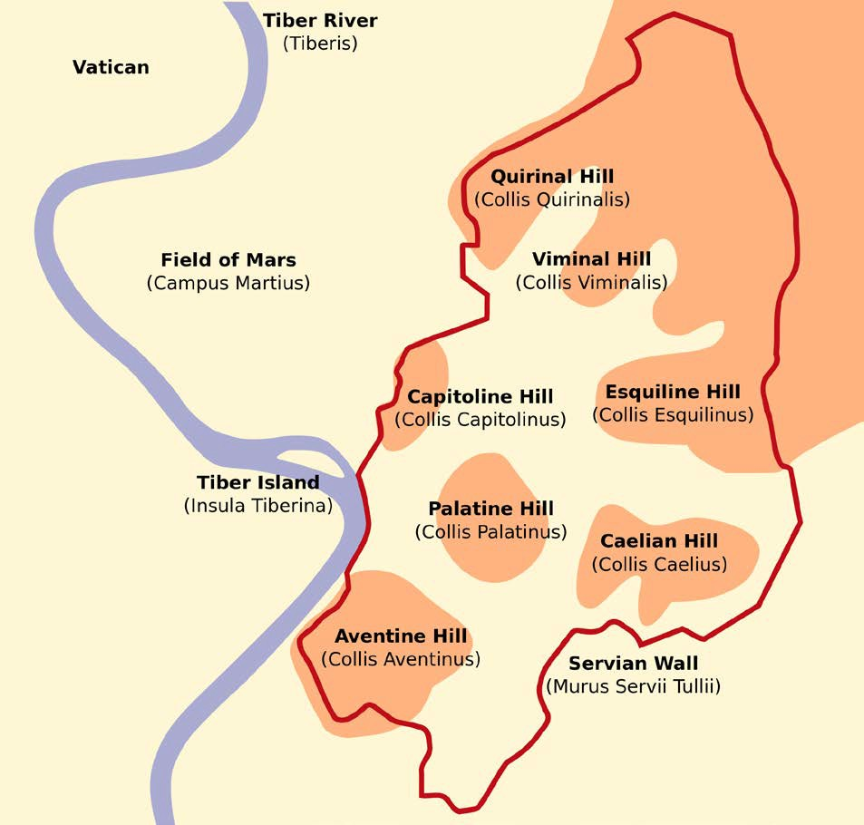 Map of the Seven Hills of Rome