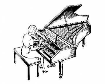 a drawing of a woman playing a harpsichord