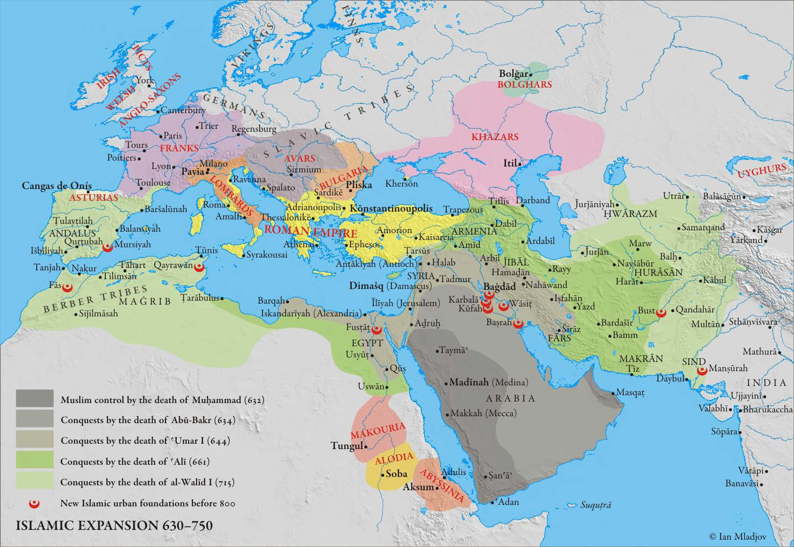 Map of Islamic Expansion 630-750