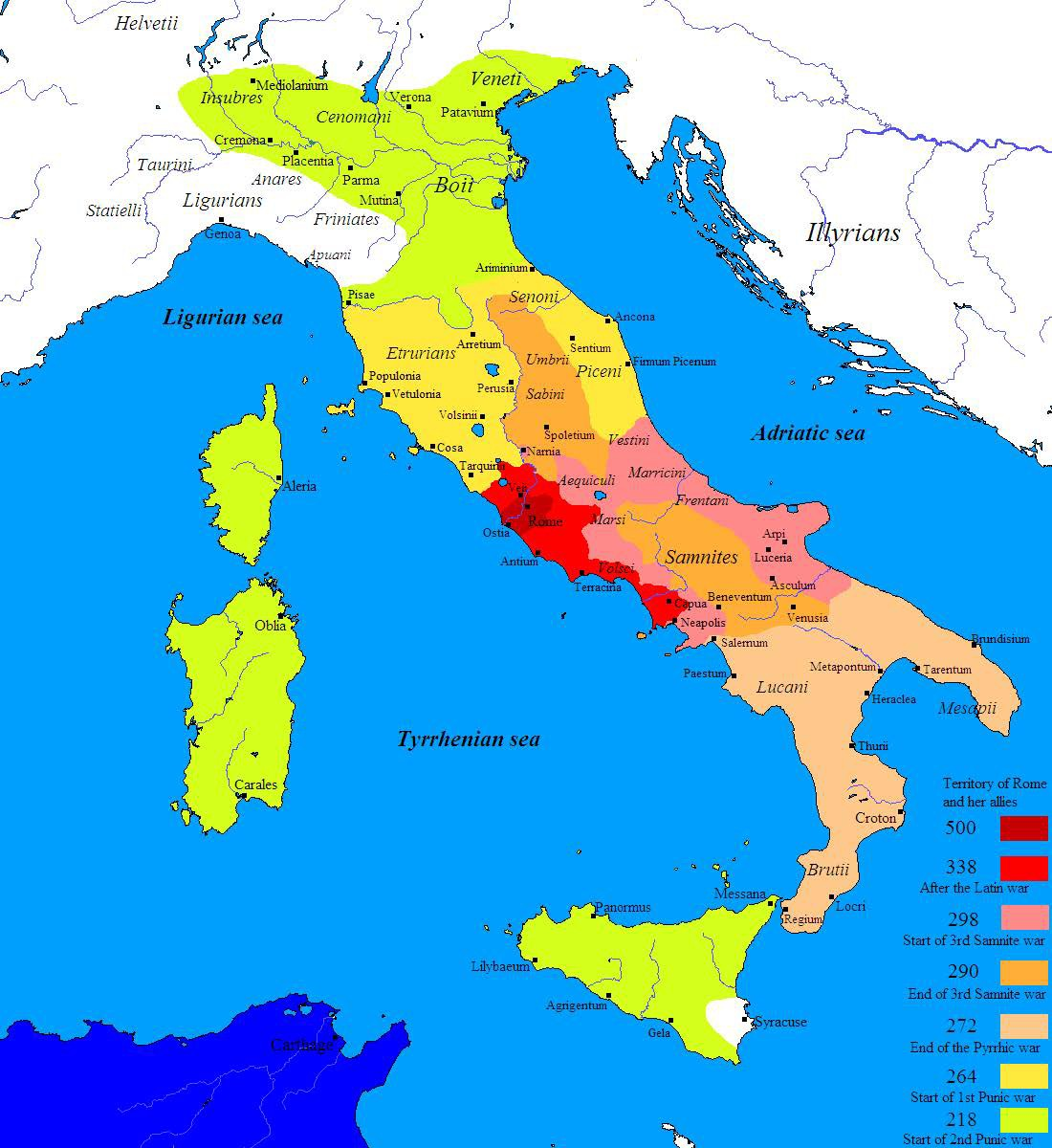 Map of the Roman Conquest of Italy