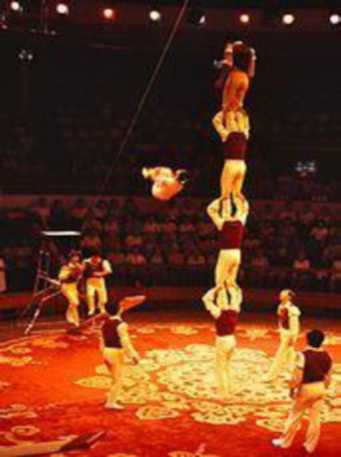Acrobats stand on top of one another, and one acrobat is in the air.