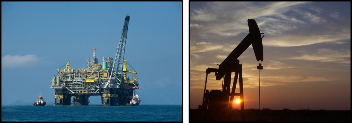 Two part image. On the left, an offshore oil platform in Brazil. On the right, an onshore oil rig near Midland, Texas