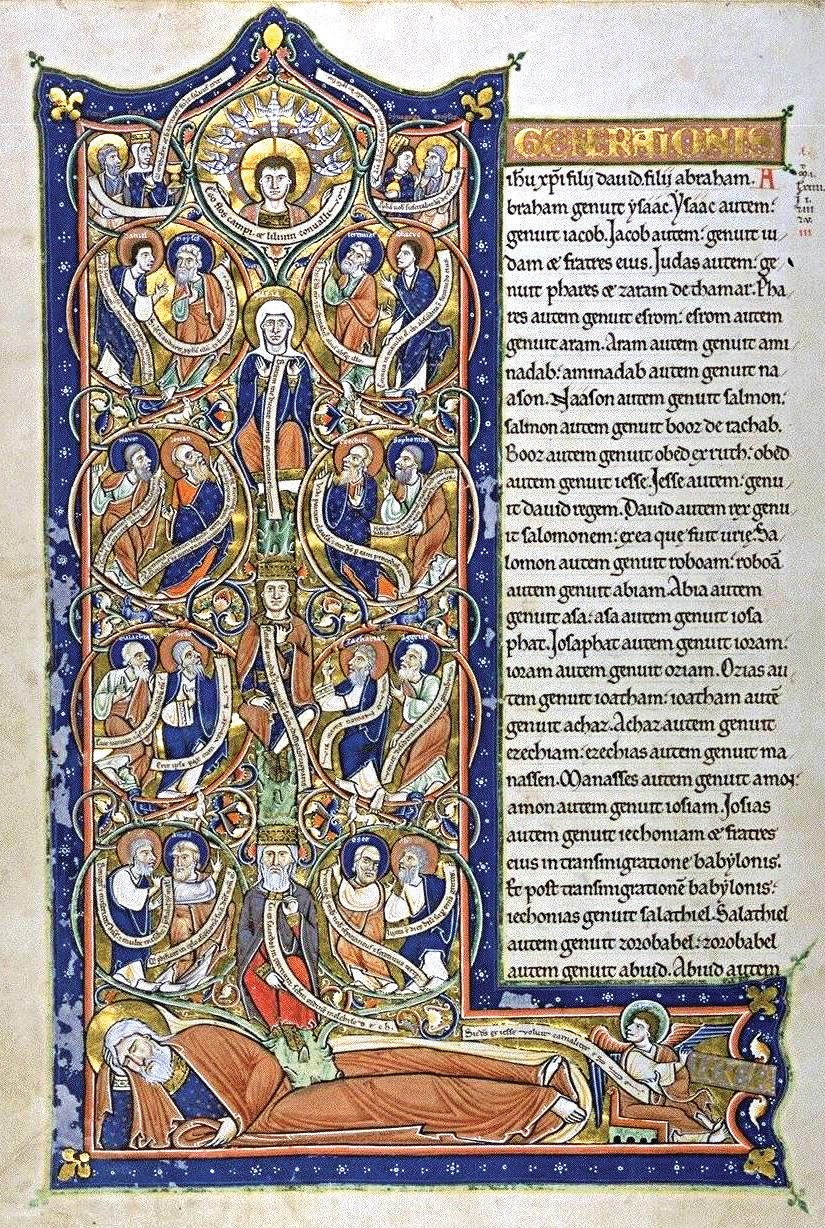 Historiated Letter L, with illustration of the Tree of Jesse, Capuchin's Bible, f. 7v, c. 1180. BNF