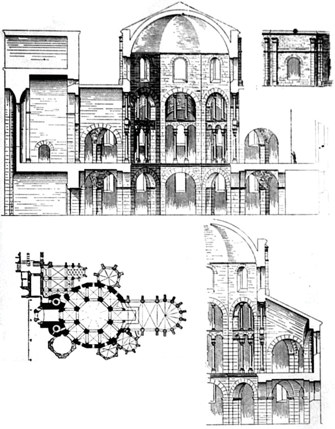 Cross-sections of the Palace Chapel of Aachen