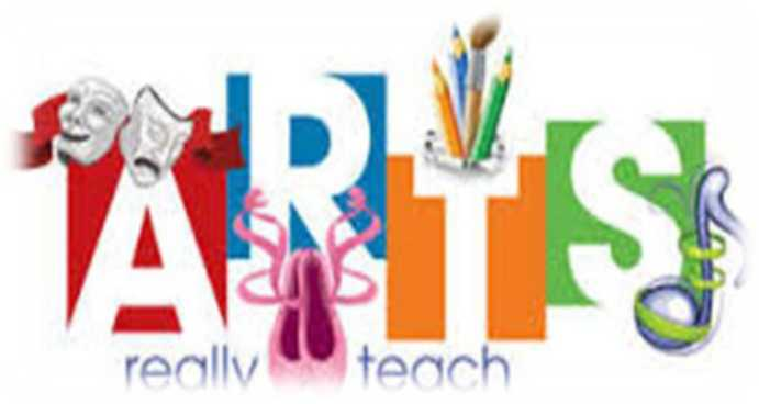 "An image that reads, ""Arts really teach."" Above the A are the drama masks of comedy and tragedy, below the R are ballet slippers, above the T are colored pencils, and below the S is a music note."