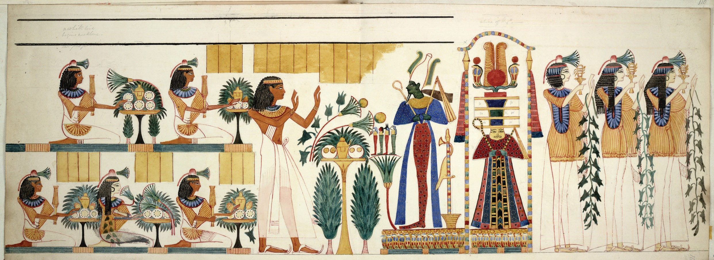 Egyptian tomb wall painting