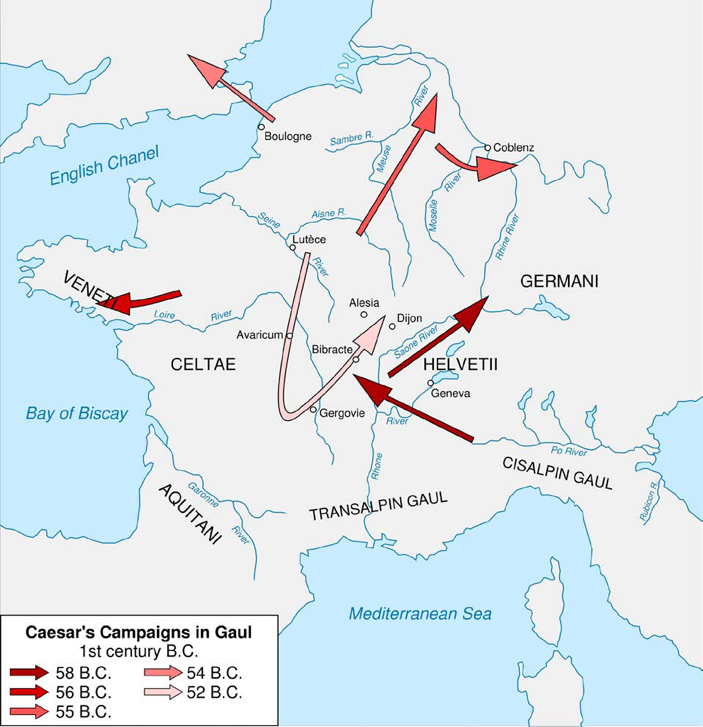 Map of Caesar's Final Campaigns During the Civil War