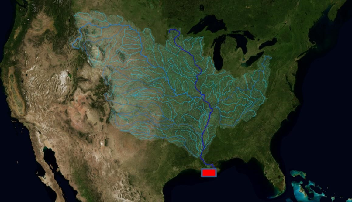 Showing the watershed of the Mississippi river