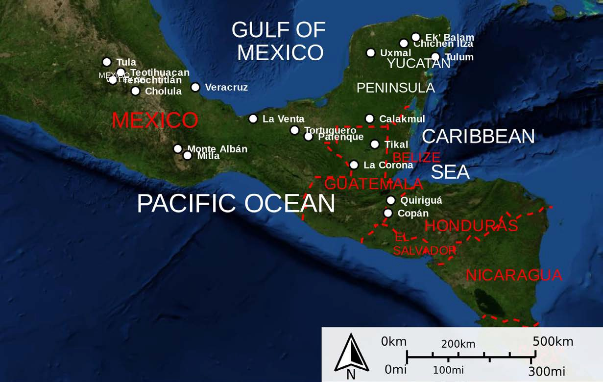 Map of Mesoamerican Historical Sites