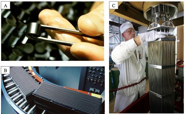 photos depicting the fuel fabrication process. A) Uranium dioxide powder compressed fuel pellet is held by tweezers. B) Fuel pellets stacked and sealed in metal tubes forming fuel rods on a conveyer belt. C) Fuel rods are bundled into a fuel assembly by a man in a white lab coat, gloves and hat.