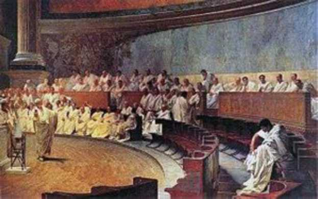 A painting of people sitting in a roman court.