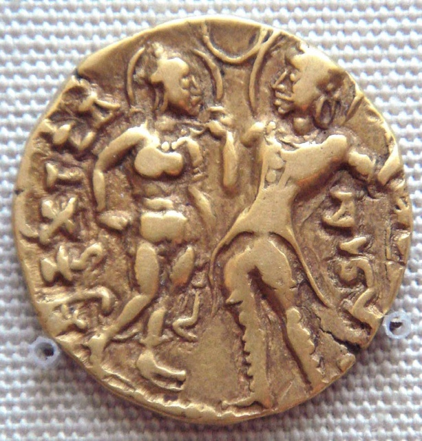 Gupta period coin depicting Chandragupta I and Queen Kumaradevi