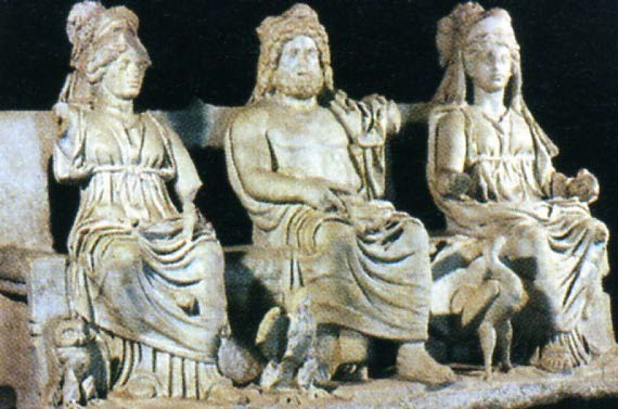 The Capitoline Triad, Jupiter Optimus Maximus, with Juno and Minerva. Note Juno's sacred goose at her foot, and Minerva's sacred owl next to her.