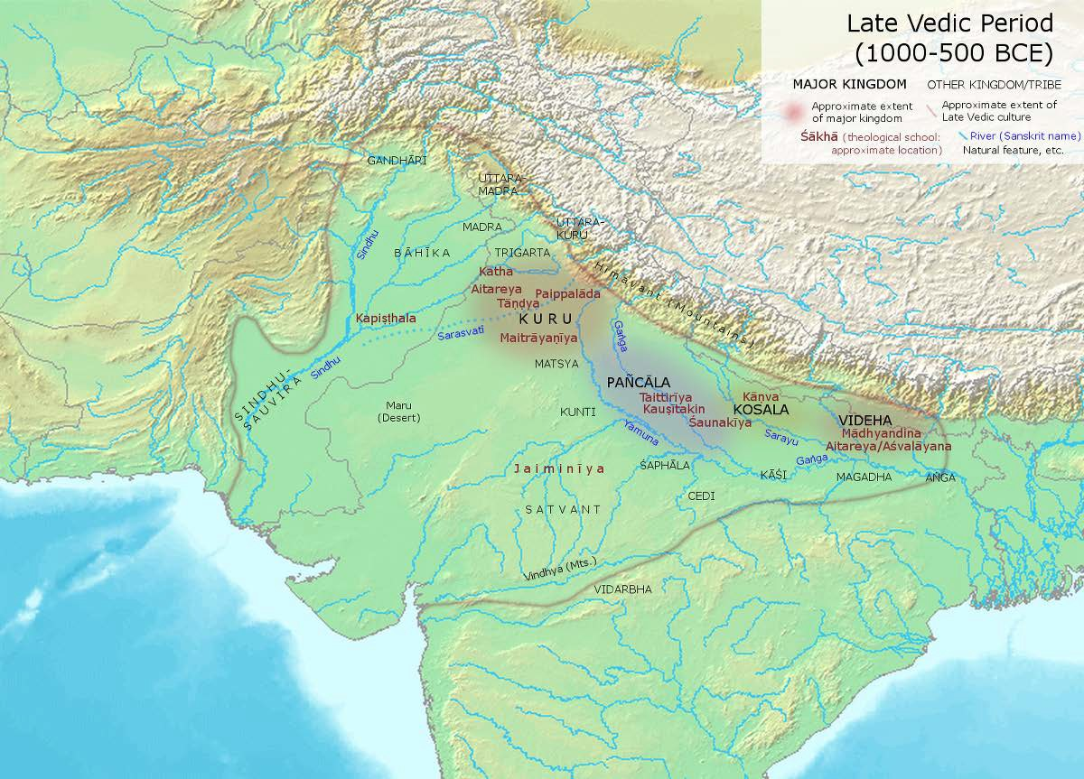 Map of The Late Vedic Age (1000-600 BCE)