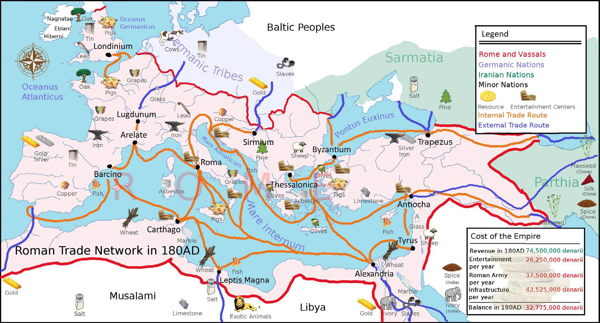 Map of Roman Trade Routes