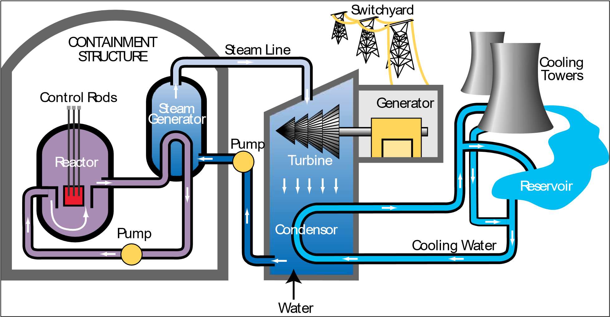 A schematic diagram of a pressurized water reactor (PWR).