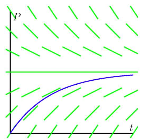 A graph with several lines to find the slope field, and a curve.