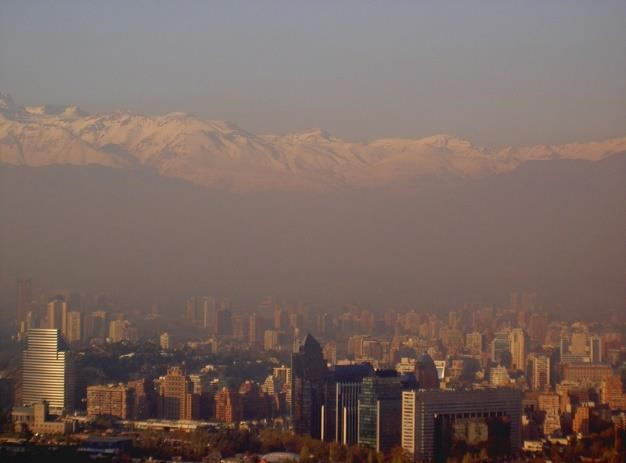 Smog over Santiago in Chile