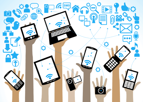 clip art of hands holding up technological devices