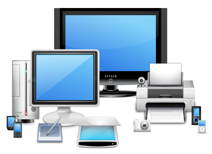a cluster of technological devices