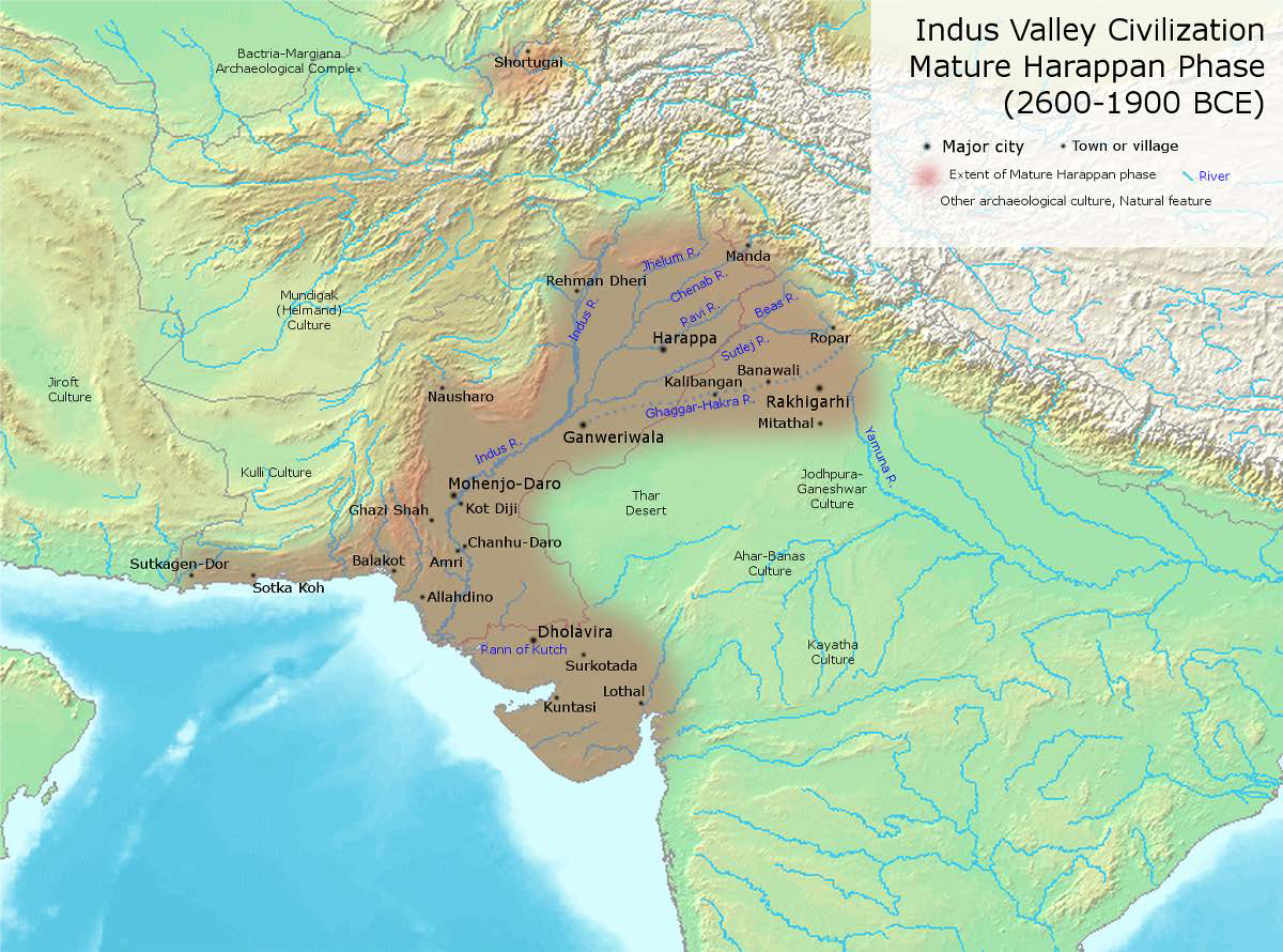 Map of important Indus Valley (Harappan) Civilization cities and towns during its most developed period.