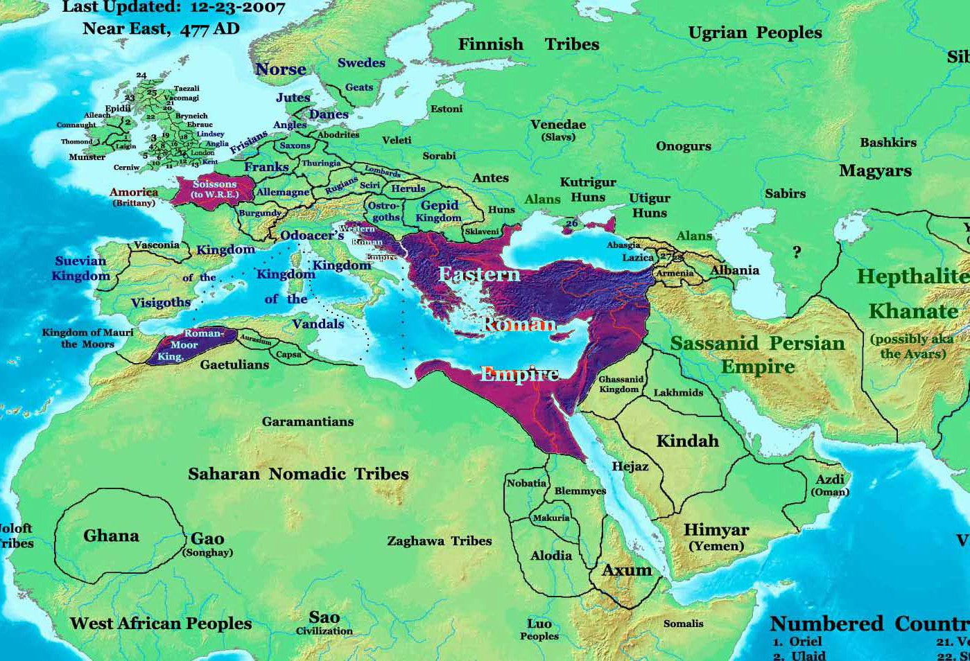 Map of the Roman Empire in 477 CE