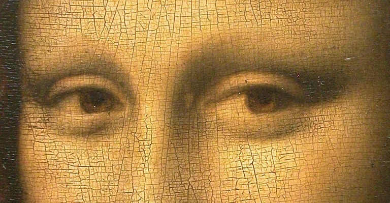 Detail of the eyes of Mona Lisa