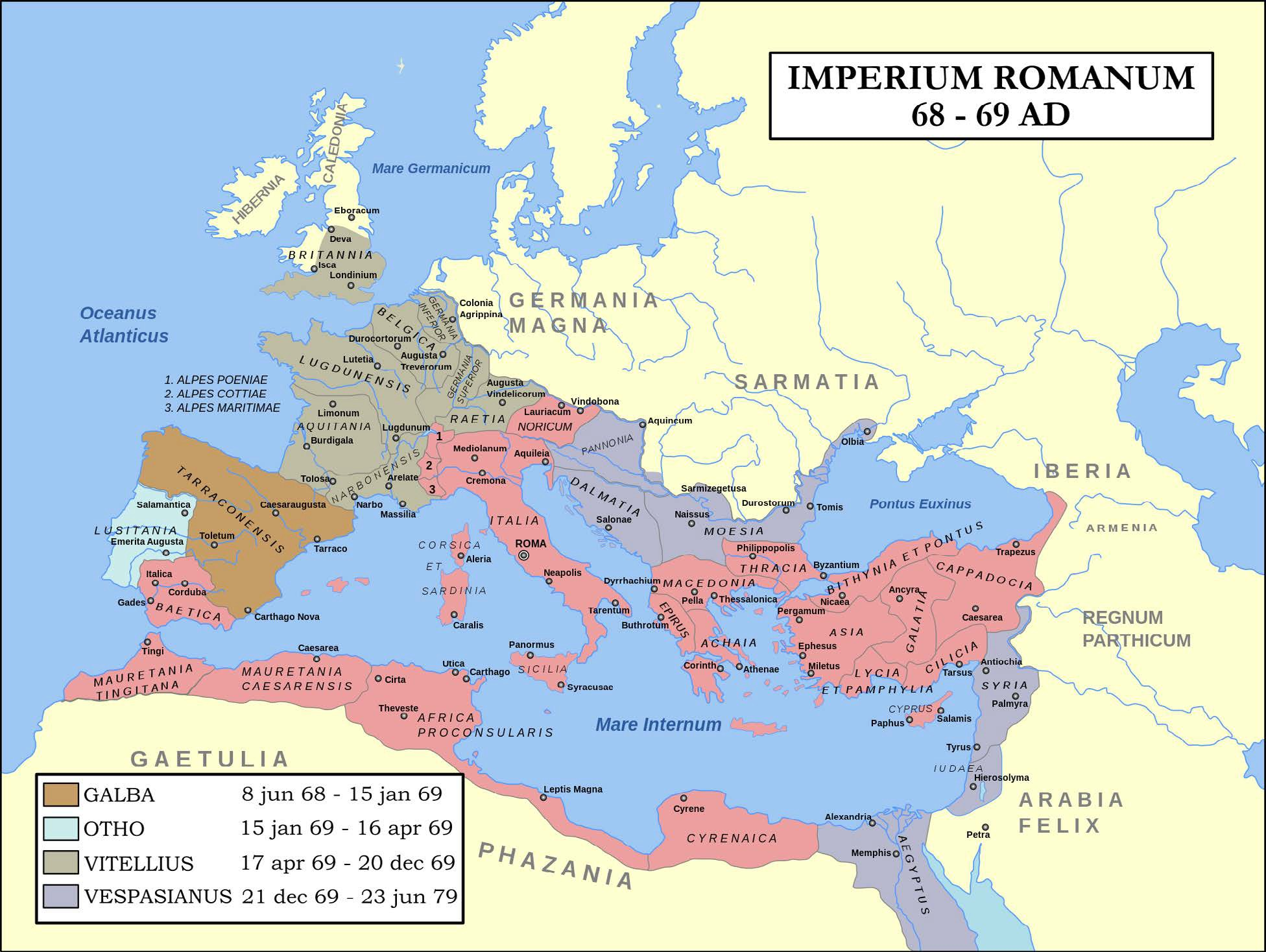 Map of the Roman Empire 68-69 CE