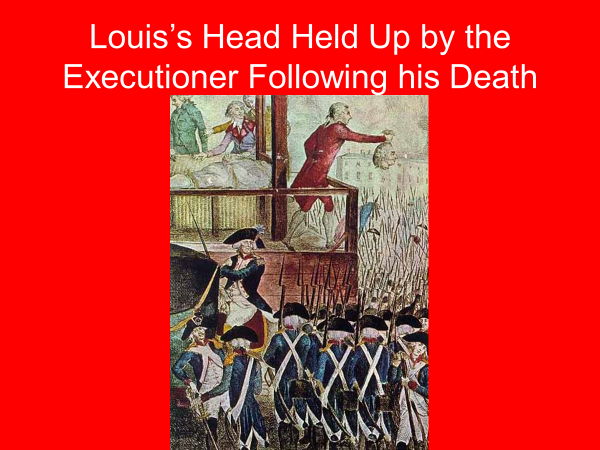 louis's head held up by the executioner following his death
