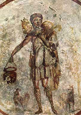 Christ as the Good Shepherd in a Third-Century CE Catacomb Painting