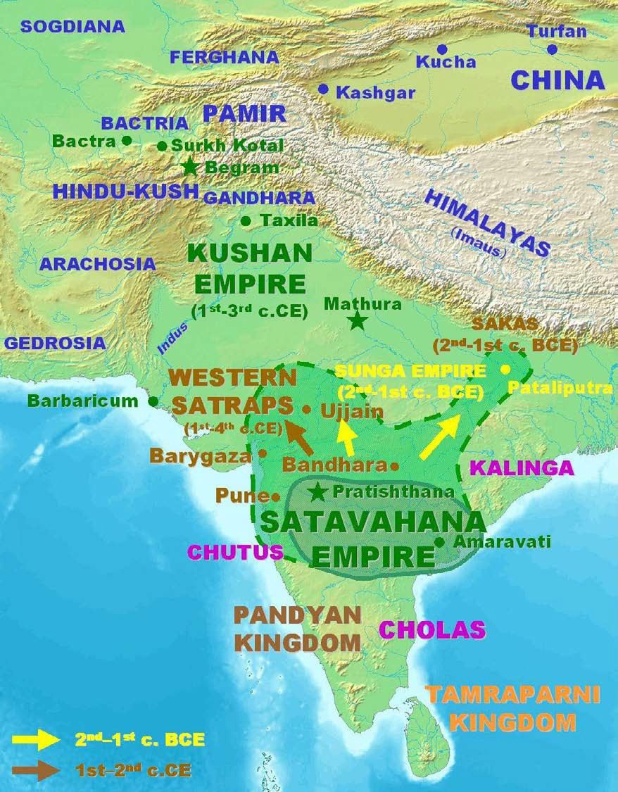 Map of India in the second and first century CE.