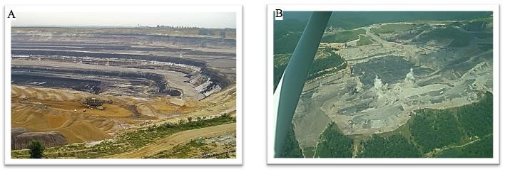 photos depicting a) a strip mine for lignite coal in Germany and b) an aerial view of a mining blast at a mountaintop removal in Eunice, West Virginia