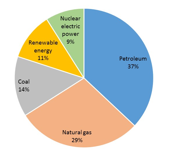 Pie chart showing U.S. primary energy consumption sources: 37% petroleum, 29% natural gas, coal 14%, representing about 80% of energy consumption comes from fossil fuels. The remaining 11% comes from renewable energy and 9% from nuclear electric power.