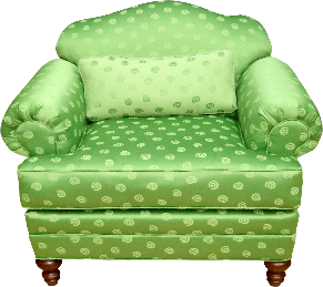 A photograph of a green upholstered chair.