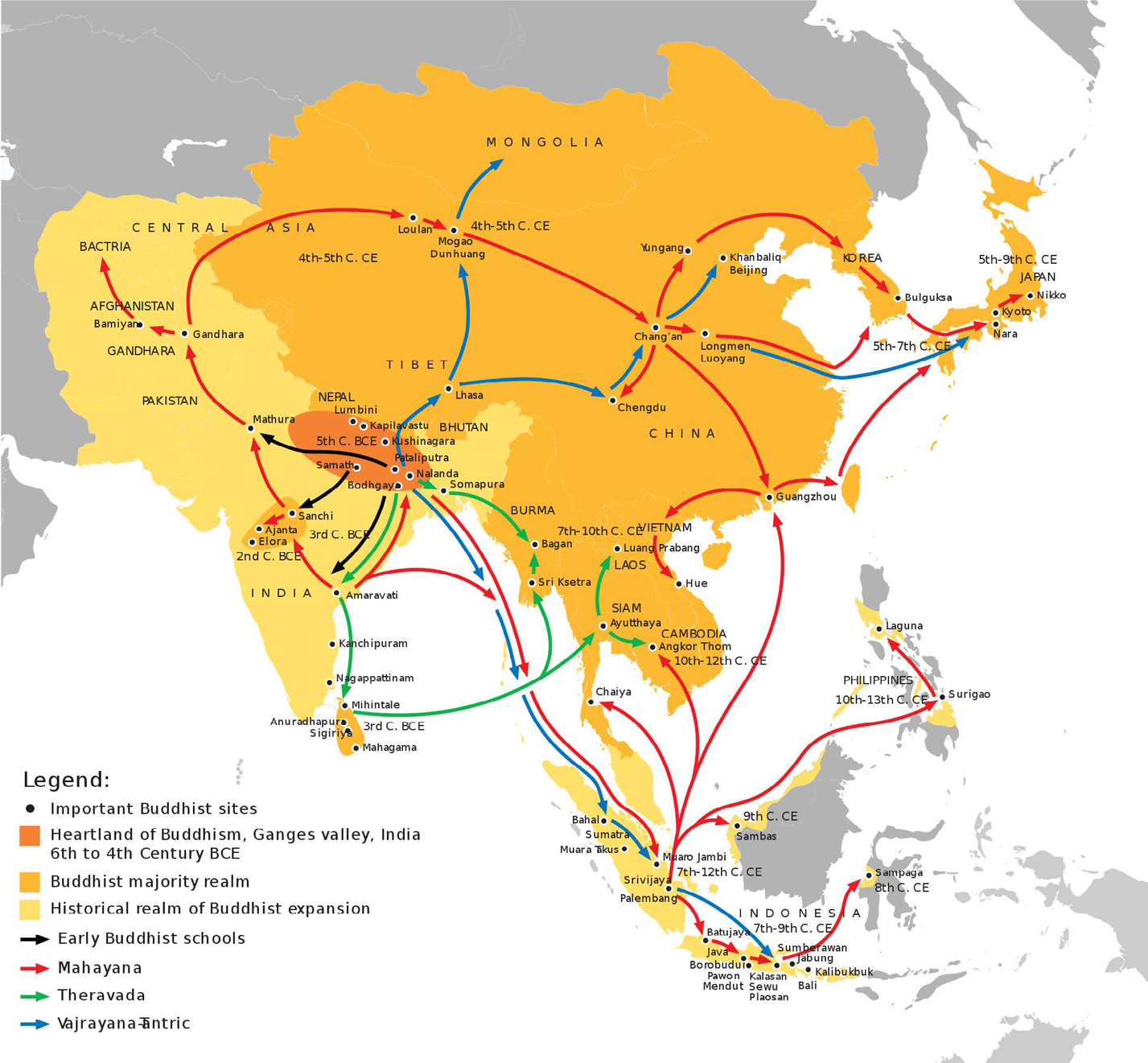 Map of the spread of Buddhism from India to other regions of Asia