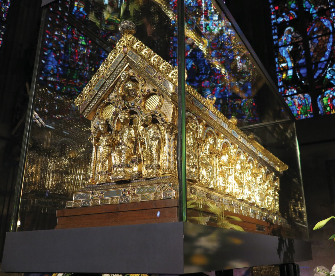 Shrine of Charlemagne, Interior of palatine chapel in Aachen Cathedral, Germany.