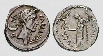 Coin of Caesar from 44 BCE. Caesar's Image on One Side, and Venus on the reverse.