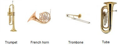 brass instruments. a trumpet, a french horn, a trombone, and a tuba