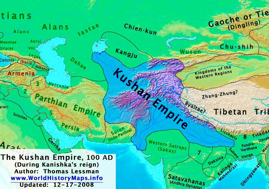 Map of the Kushan Empire during the reign of King Kanishka
