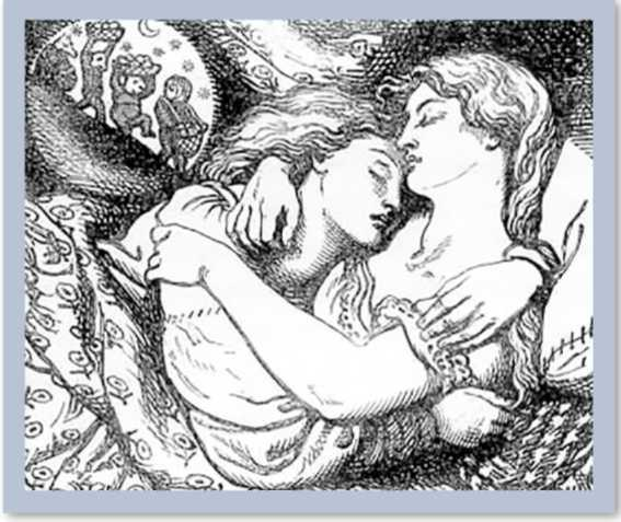 Two women holding each other as they sleep.