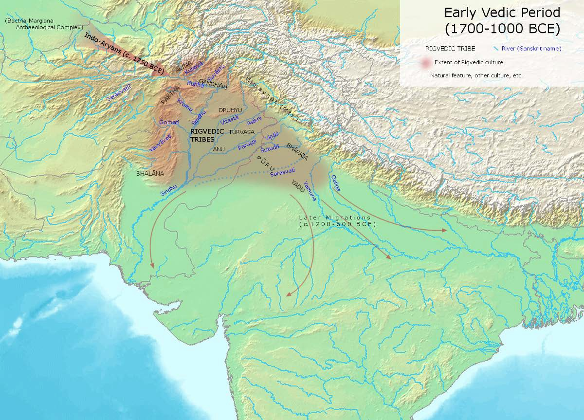 Map of Early Vedic Culture (1700-1000 BCE), showing the Aryan's migration routes and the areas where they first resided in the Punjab.