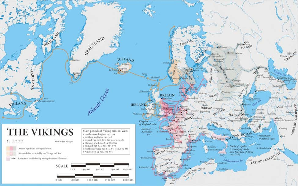 Map of The Vikings c. 1000 CE