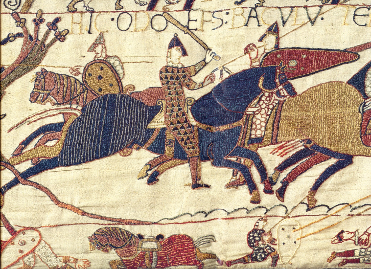 Detail of the Bayeux Tapestry depicting Odo, half brother of William the Great, in battle